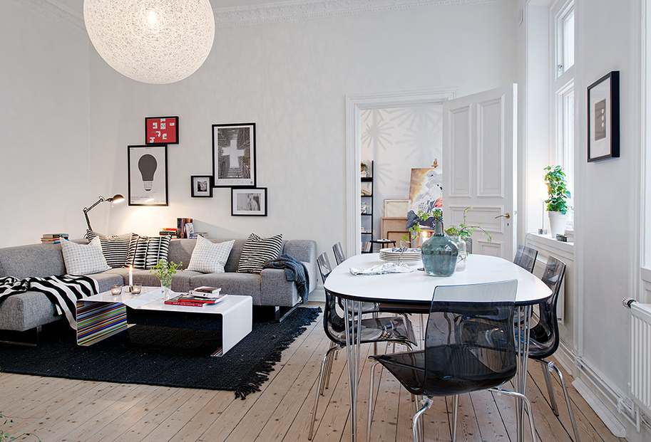 Swedish apartment boasts exciting mix of old and new for Apartment accessories
