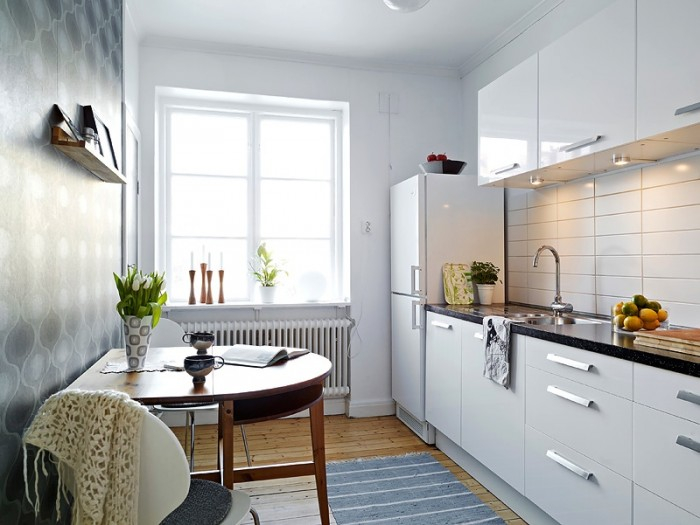 white small apartment kitchen