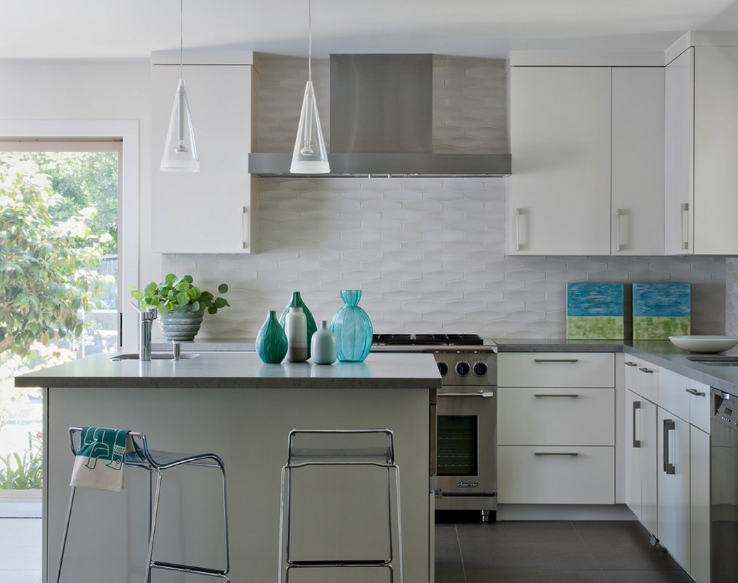White Textured Subway Tile Backsplash