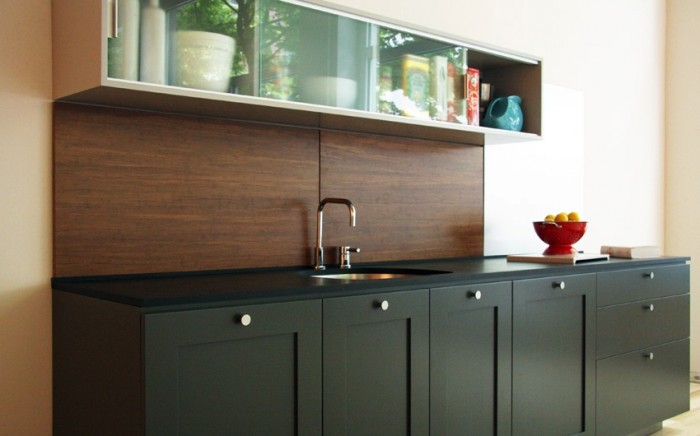 Strand bamboo in a Chestnut finish makes for a Zen minimalist backsplash.
