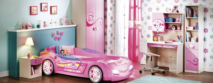 Toddler car beds aren't just for boys, this hot pink race car is sure to delight any little girl.