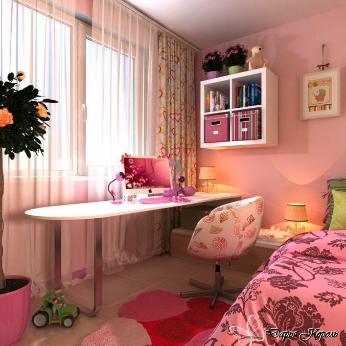The designer of this young girl's bedroom created a space that can be enjoyed through the teen years.