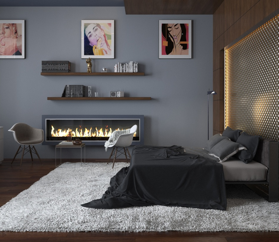 Modern bedroom ideas for Bedroom ideas with fireplace