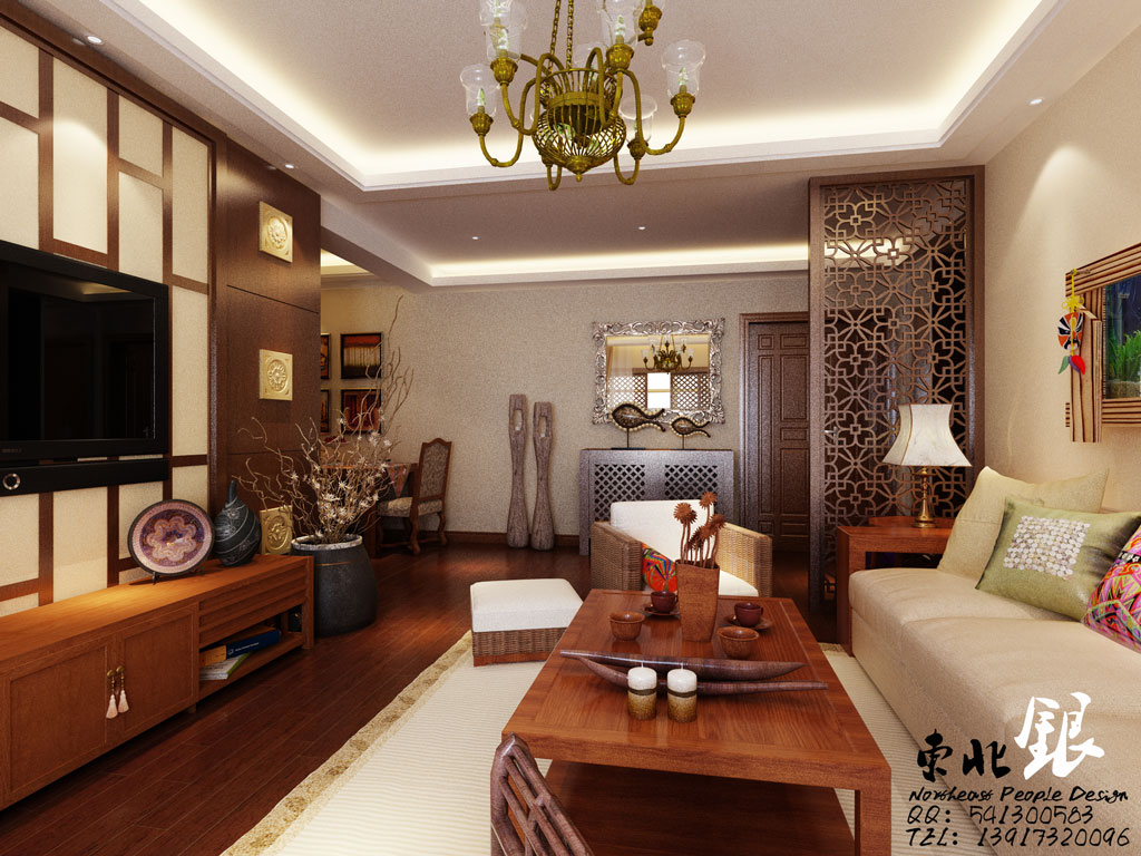 Asian Style Living Room Interior Design Ideas
