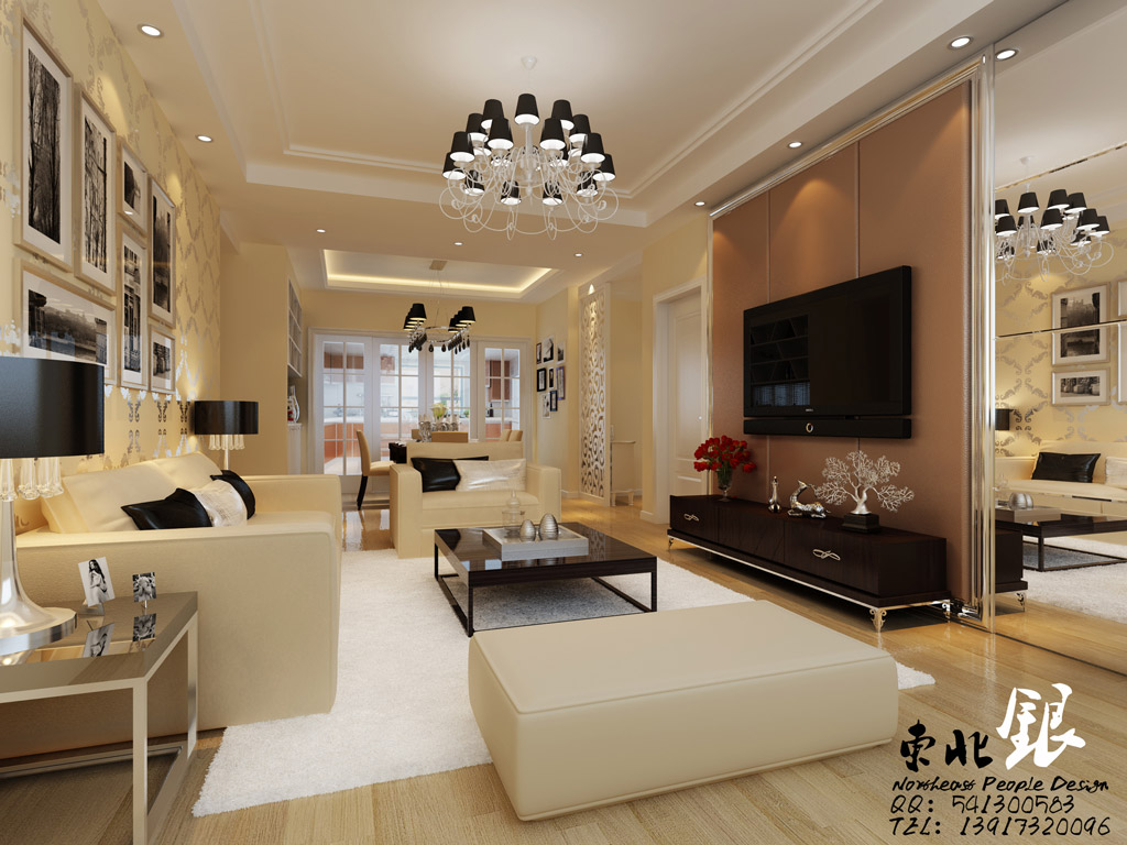 Chinese Beige Living Room Interior Design Ideas