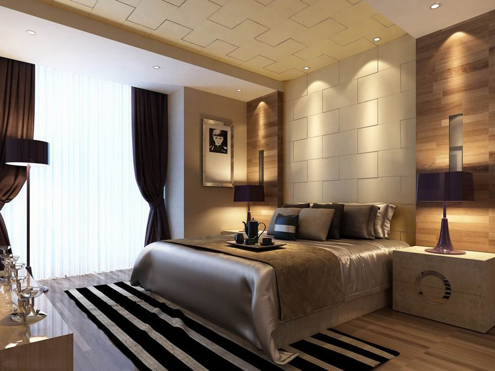 Downlit Textured Wall Bedroom Luxury China Interior
