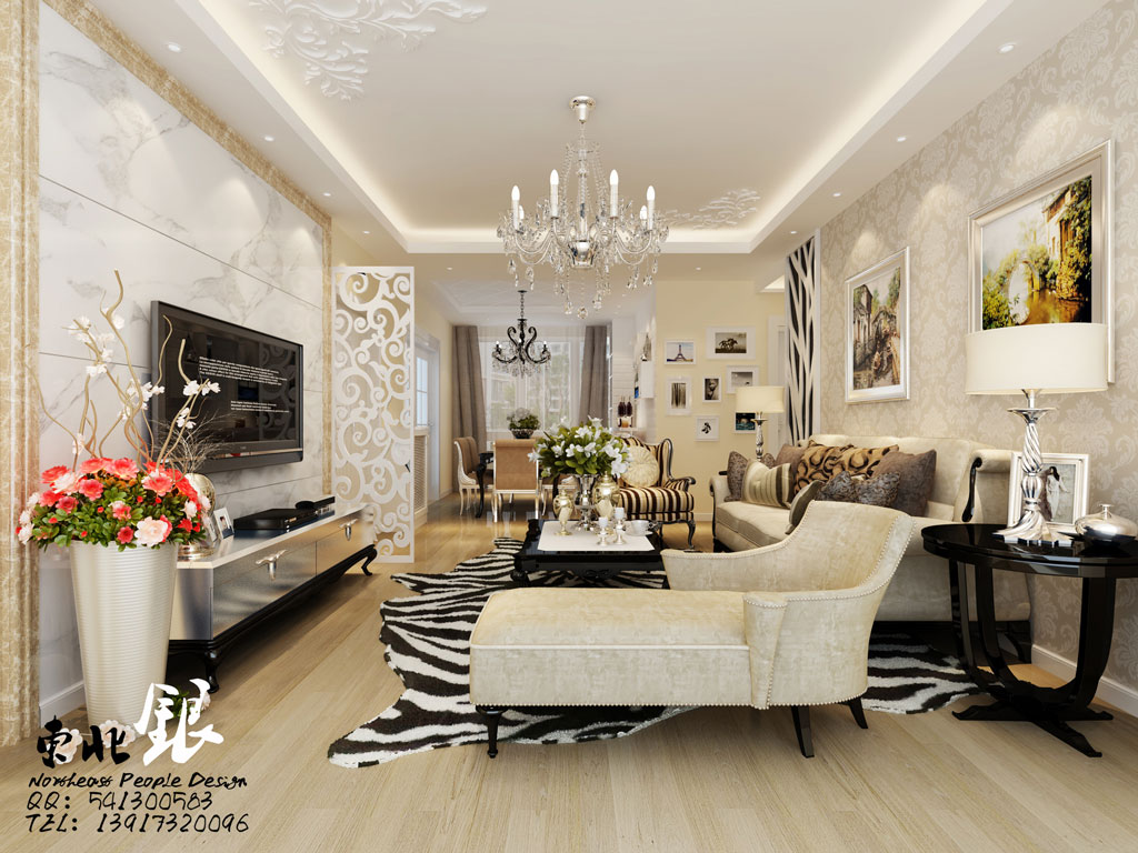 Elegant style living interior design ideas for Silver wallpaper living room