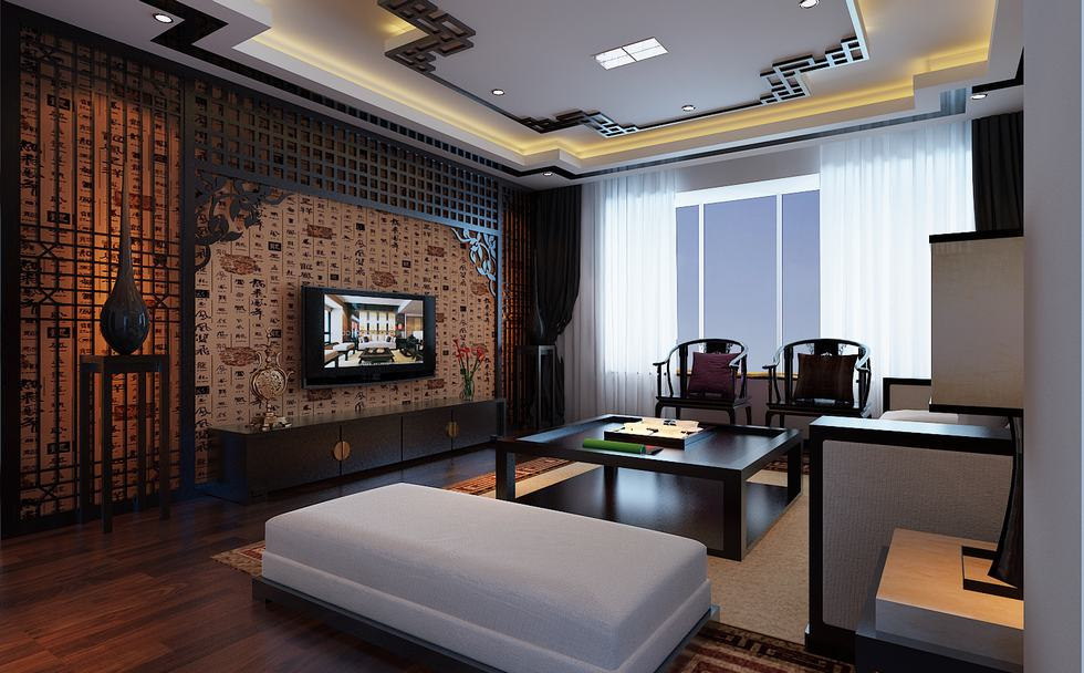 Flat screen chinese feature wall lounge interior design for Feature wall interior design