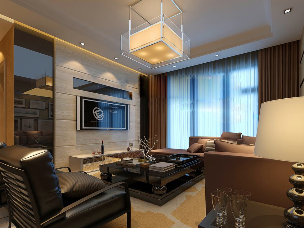 Flat screen luxury angular living china interior design for Modern small flat interior design