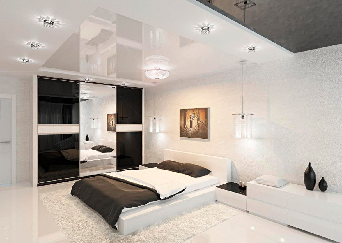 Modern black and white bedroom interior design ideas for Bed interior design picture