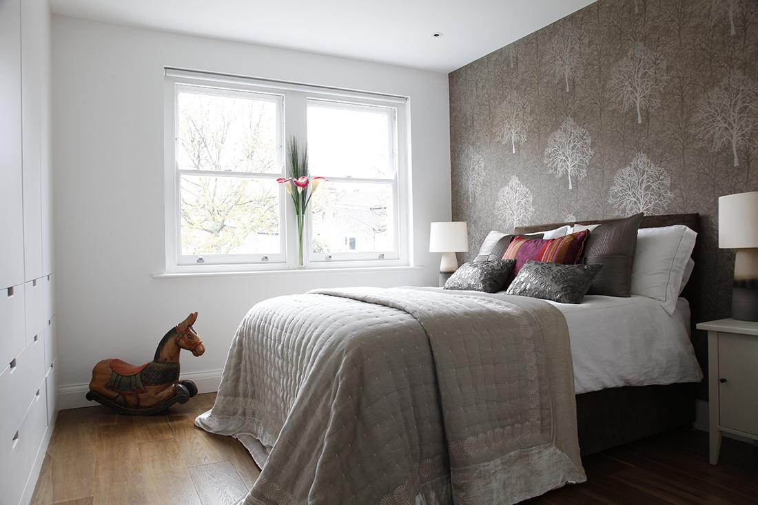 Modern victorian home goes eclectic for Wallpaper and paint ideas for bedroom