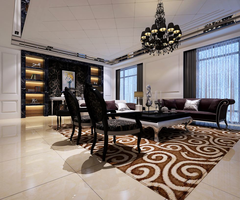 Monochrome and chocolate printed rug living china for Monochrome interior design ideas