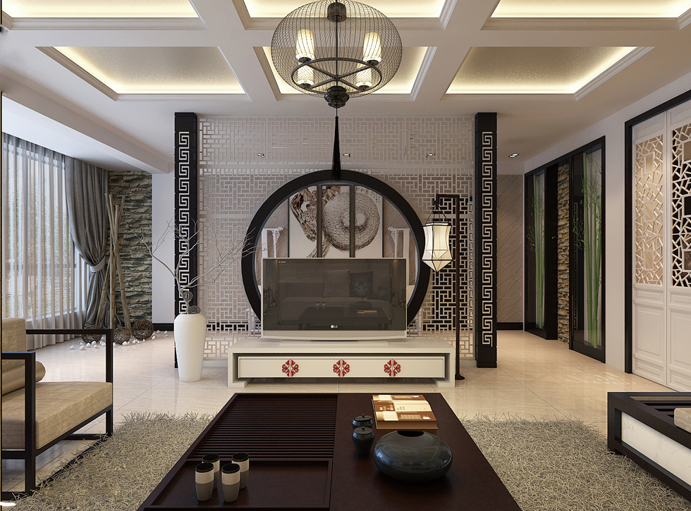 Oriental stencil feature wall monochrome living china for Chinese home designs