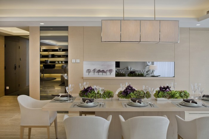 subtle mulberry and cream accessorized modern dining steve leung