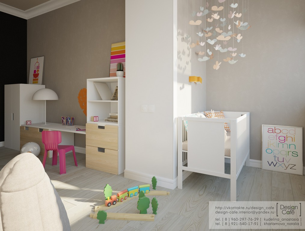 room features a small nursery area bed for older child and play area