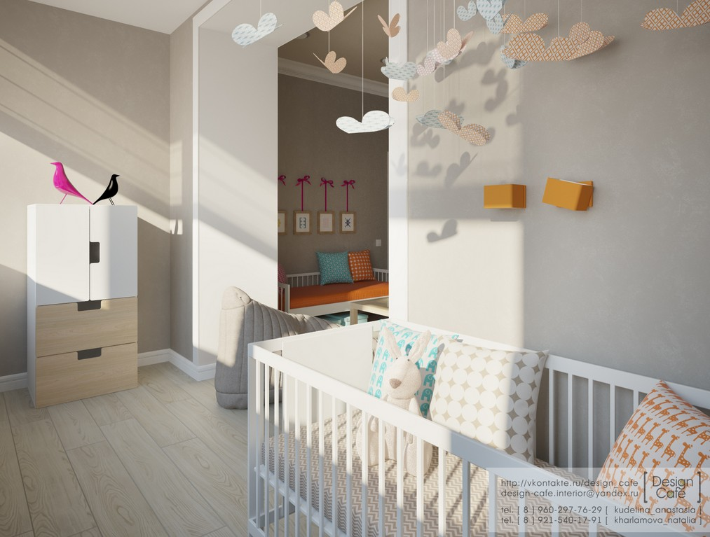 Young family apartment bedroom childs nursery interior - Baby in one bedroom apartment ...