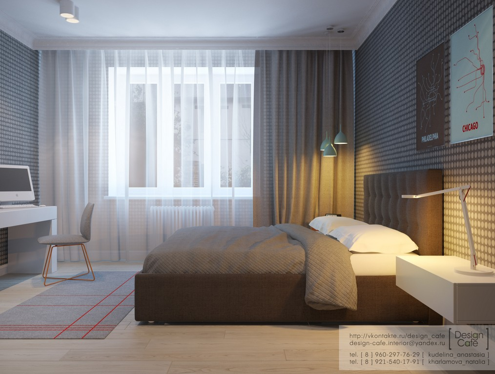 Apartment for a young family for Bedroom bed design