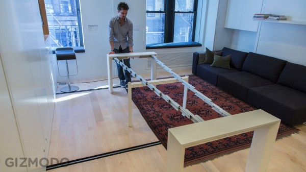 Hill sets up an expandable table for 10, turning the space into yet another room.