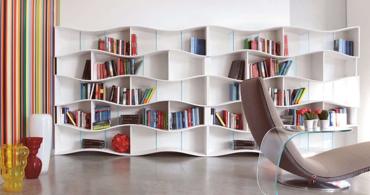 20 creative bookshelves modern and modular decoration ideas charming free standing white wooden asymmetrical shelves bookcase in bookshelf decorating - Bookcase Design Ideas