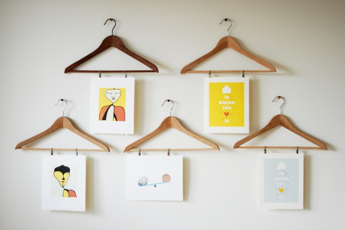 Found object art Coat hangers wall art creative