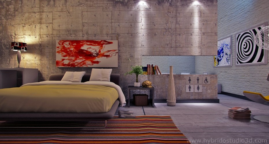 Bedroom Ideas Quirky modern art concrete and painted brick modern bedroom quirky