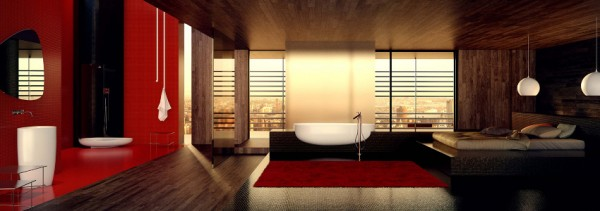 Danelon Meroni Red white and black oriental inspired bathroom panorama