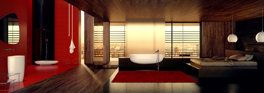 danelon meroni red white and black oriental inspired bathroom panorama : bathroom black red white