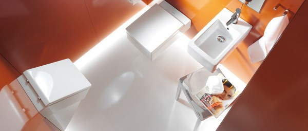 Duravit Orange and white bathroom aerial view