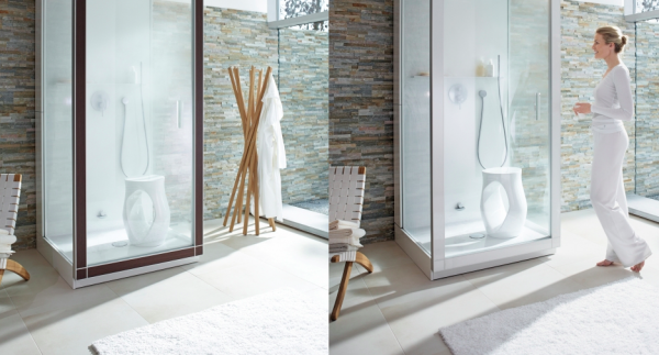 Duravit white and stone organic bathroom with wooden accessories