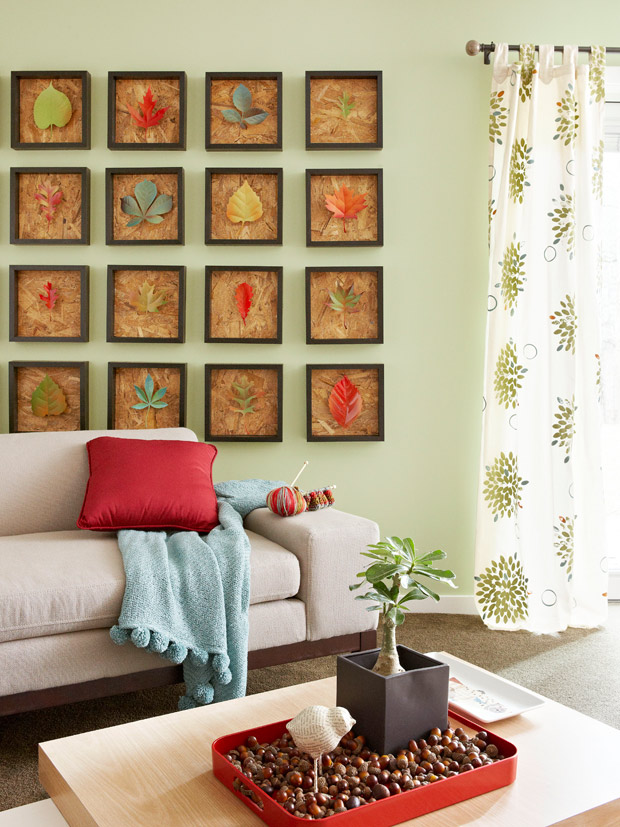 Gallery art wall Framed Leaf Collection Modern Art Ideas