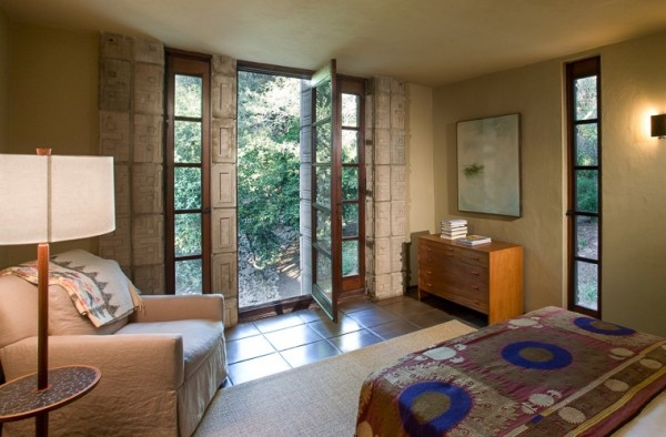 Frank Lloyd Wright Millard House bedroom aztec soft furnishings