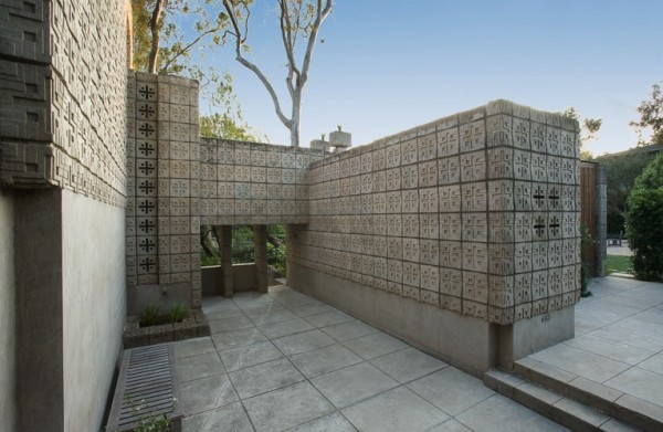 Frank Lloyd Wright Millard House concrete block exterior spaces