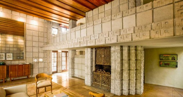 Frank Lloyd Wright Millard House concrete block interior living wooded ceiling