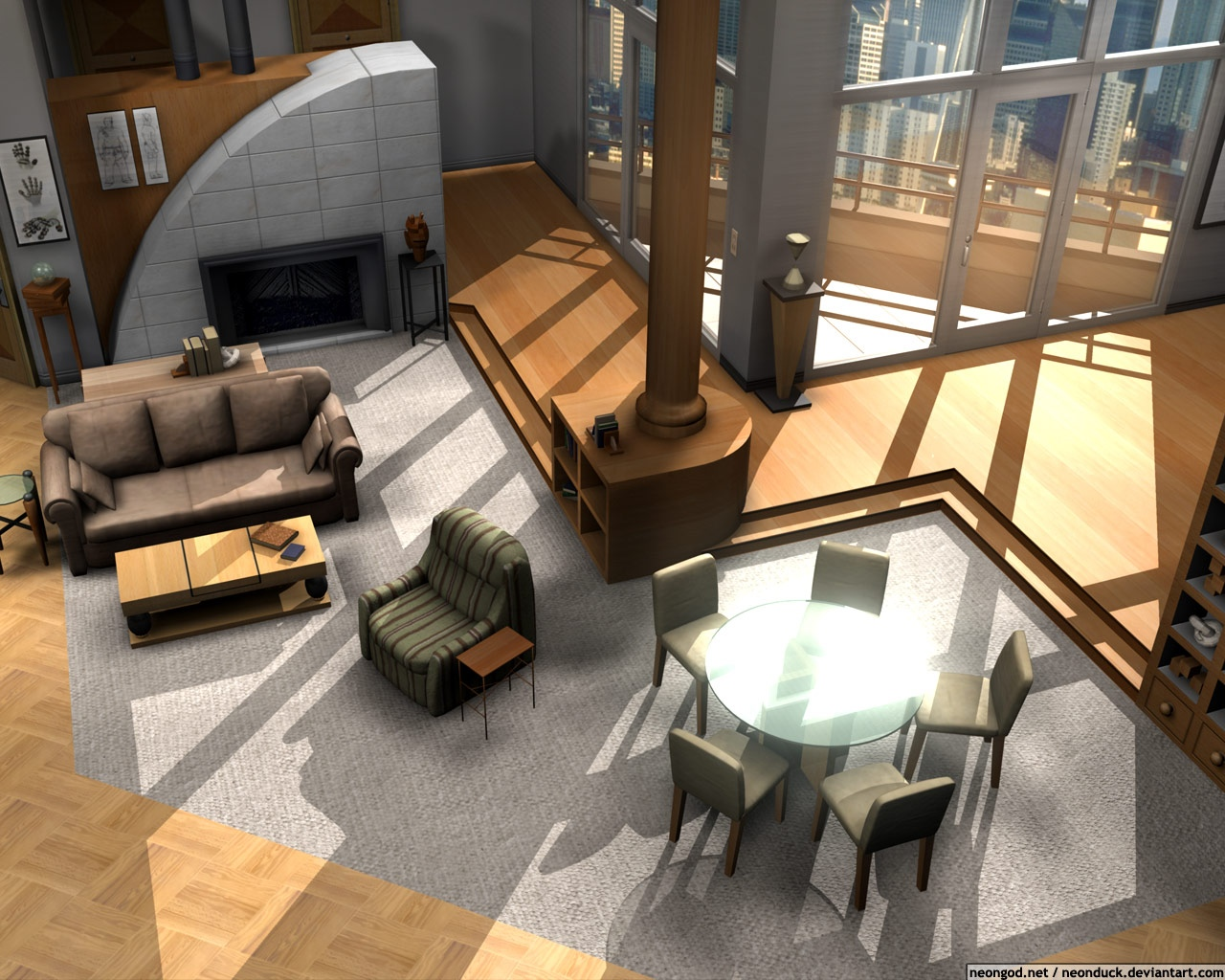 Floor plans of homes from famous tv shows for Apartment furniture