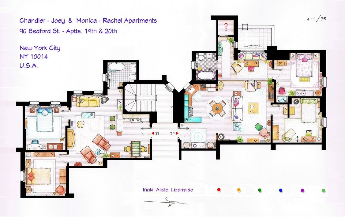 Floor plans of homes from famous tv shows for Floor plans manhattan apartment buildings