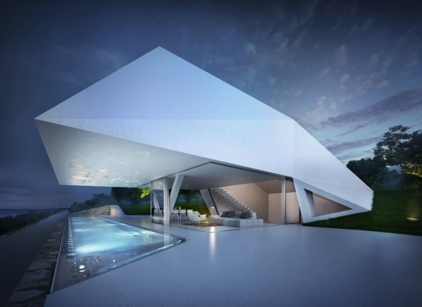 Lookout and pool at dusk Modern Holiday House Greece