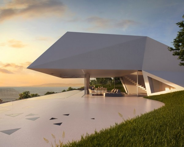 Lookout and pool covered day Modern Holiday House Greece