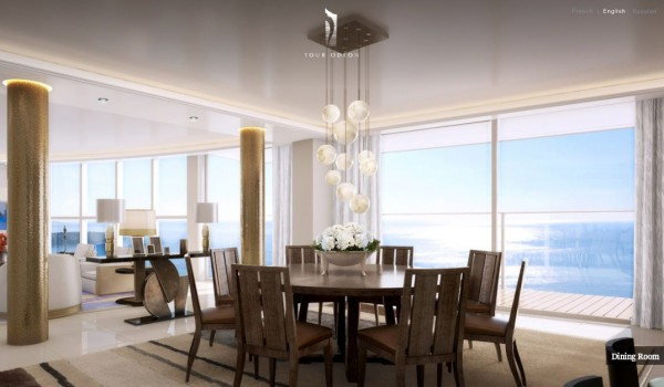 Monaco Penthouse- formal dining with pendant lighting and ocean views