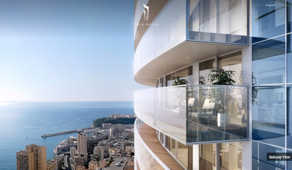 Monaco Penthouse- glass balconies with ocean views