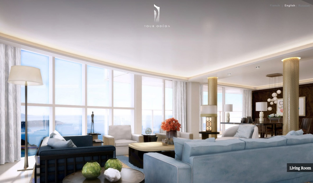 Monaco Penthouse- ice blue open plan modern living dining with ocean ...