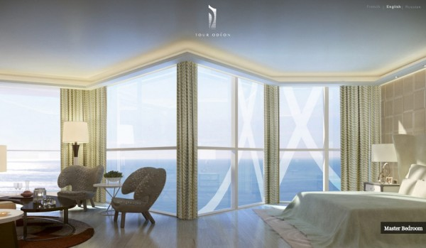 Monaco Penthouse- master bedroom with ocean views and sitting area