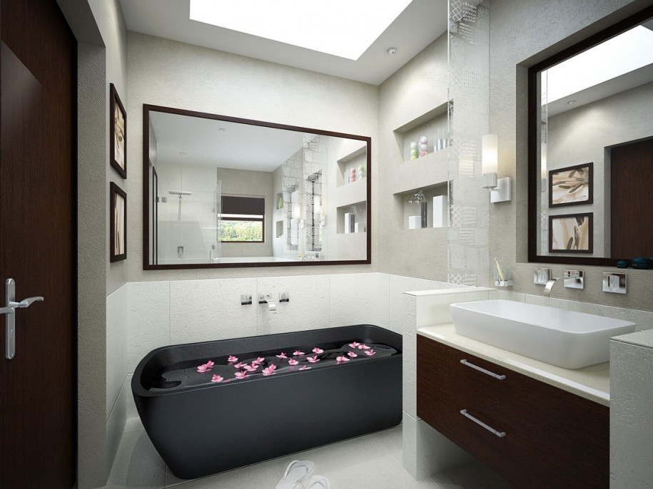 Monochrome bathroom with black tub and mirrors interior for Monochrome interior design ideas
