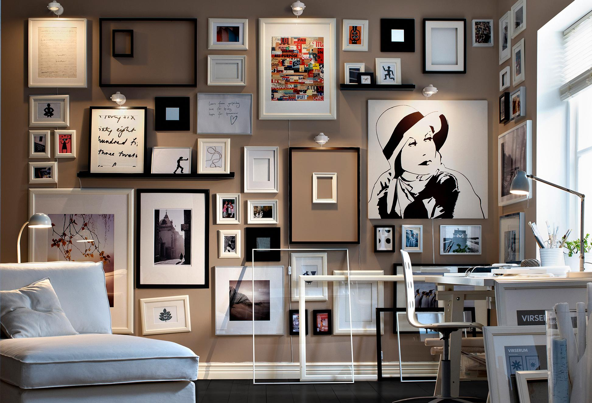 Gallery art wall monochrome framed collection of sketches Art gallery interior design