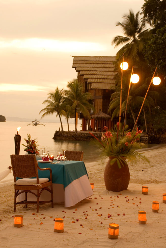 Pearl Farm Hotel Beach Dinner Set Up Evening - 31 picturesque romantic places to draw inspiration from