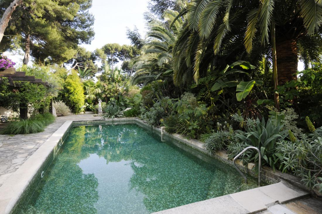 Pool landscape surrounded by greenery interior design ideas for Pool garden design pictures