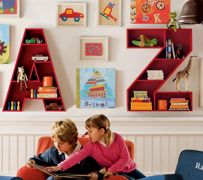 Quirky alphabet storage units child's white playroom
