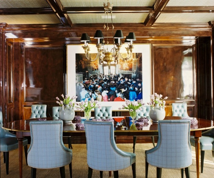 Photograph Roger Davies Photography- High Gloss Wooden Dining Crowded Rooom Painting