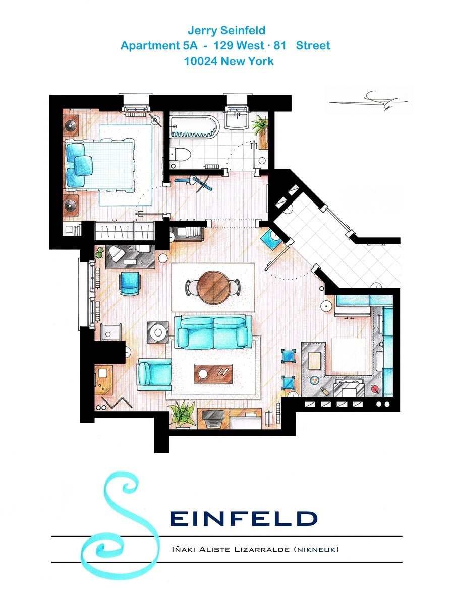 Floor plans of homes from famous tv shows for Tv shows to see in new york