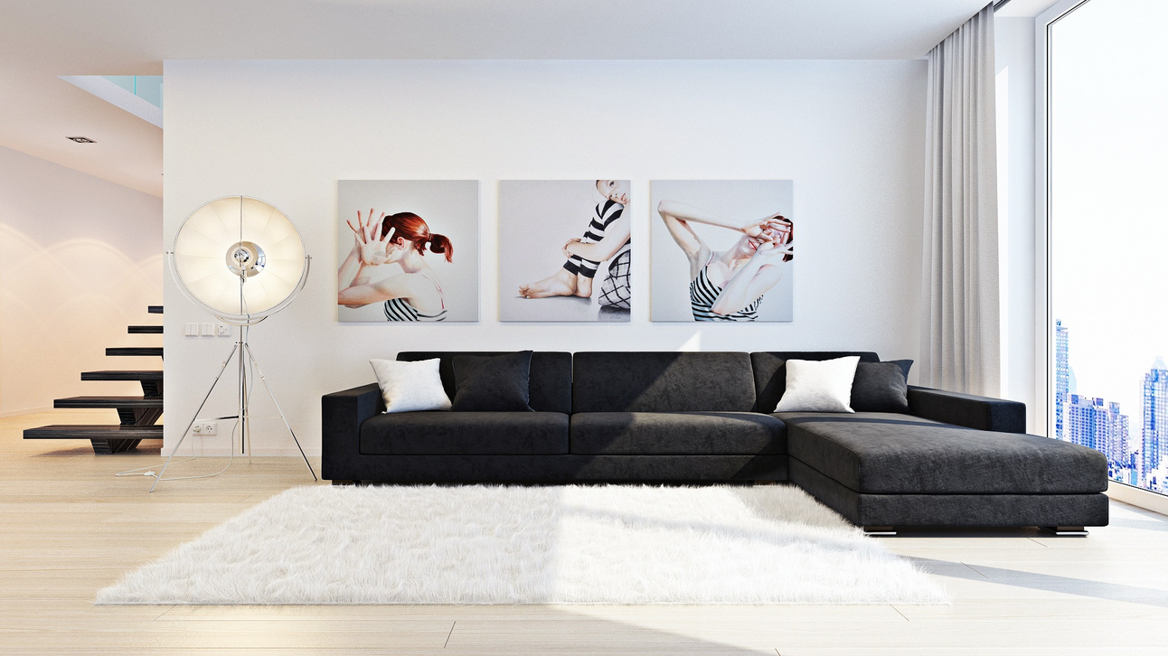 series art sergei kharenko inner city monochrome living triple series wall painting tripod. Black Bedroom Furniture Sets. Home Design Ideas