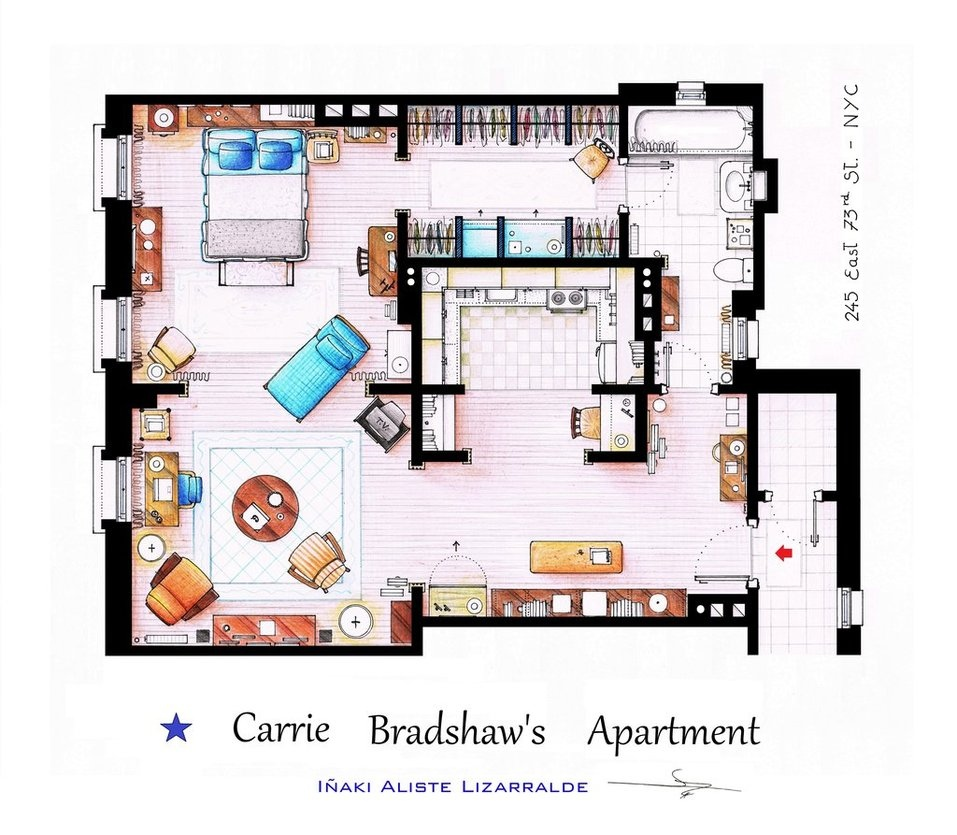 Floor plans of homes from famous tv shows for Apartment floor plan